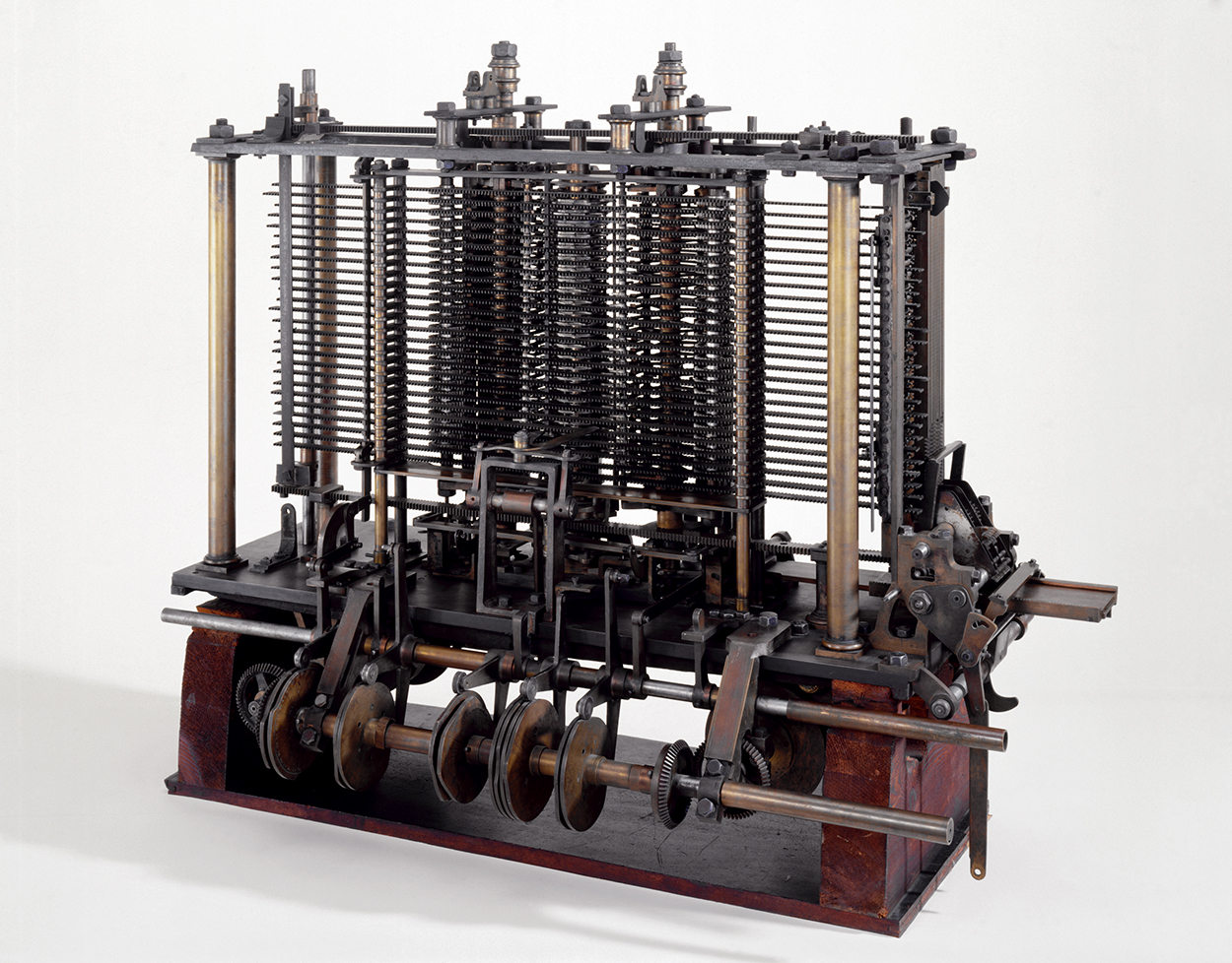 This was the first fully-automatic calculating machine. British computing pioneer Charles Babbage (1791-1871) first conceived the idea of an advanced calculating machine to calculate and print mathematical tables in 1812. This machine, conceived by Babbage in 1834, was designed to evaluate any mathematical formula and to have even higher powers of analysis than his original Difference engine of the 1820s. Only part of the machine was completed before his death in 1871. This is a portion of the mill with a printing mechanism. Babbage was also a reformer, mathematician, philosopher, inventor and political economist.